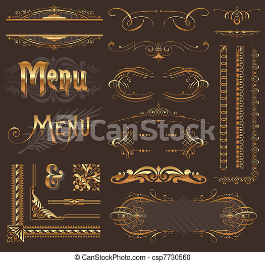 Ornate golden design elements & page decor - csp7730560