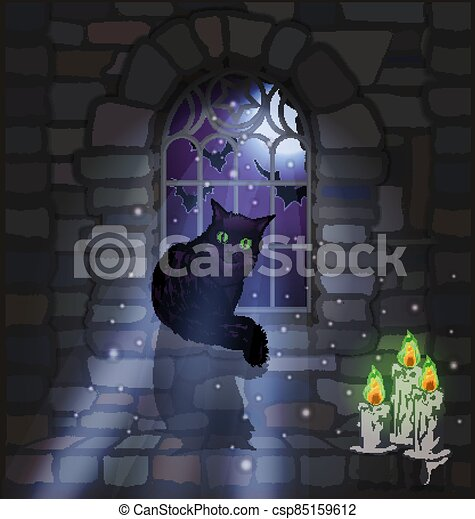 Ornate gothic window with black cat and candles, background, vector illustration - csp85159612