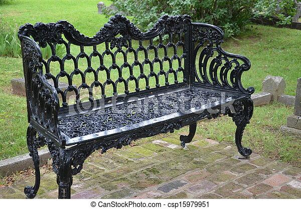 Ornate Iron Park Bench   Csp15979951