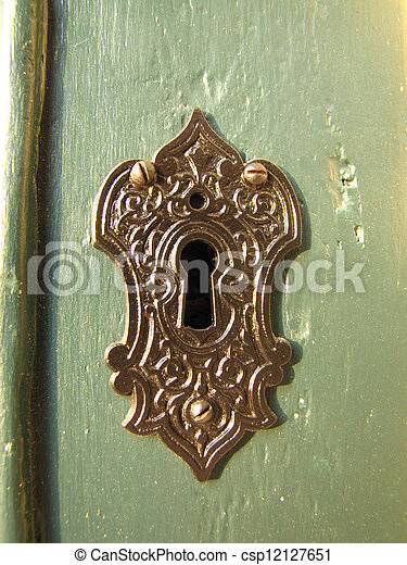 Ornate Key Hole Against A Green Door