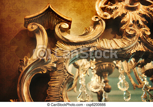 Ornate mirror with reflection and vintage background - csp6200666