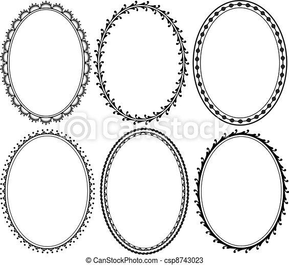 ornate oval border - csp8743023
