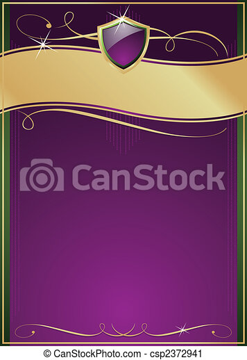 Ornate Purple, Green & Gold Page with Shield - csp2372941
