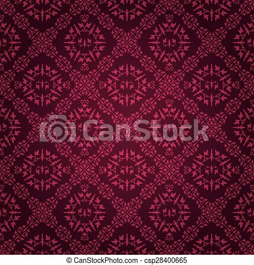 Ornate Purple Tile Vintage Wallpaper Design