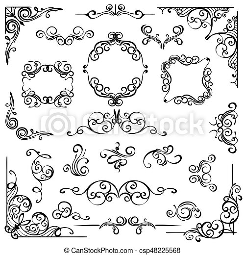 Ornate swirl frames headers and scroll elements. Set of hand drawn ...