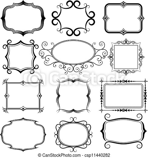 ornate vector frames set - csp11440282