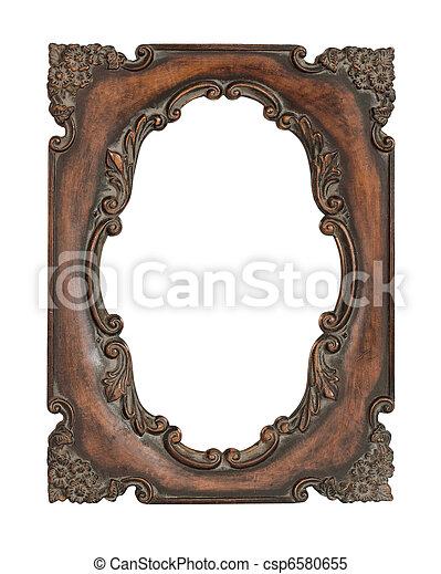 Ornate vintage frame over white background - csp6580655