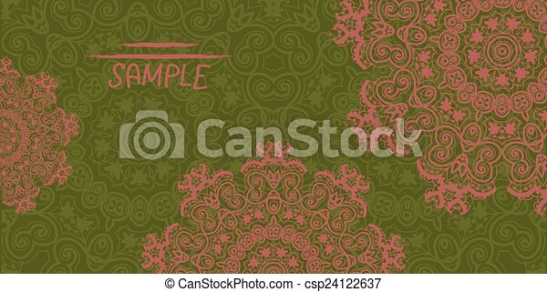 Henna Mehndi Vector : Ornate wedding invitation card based on indian henna mehndi