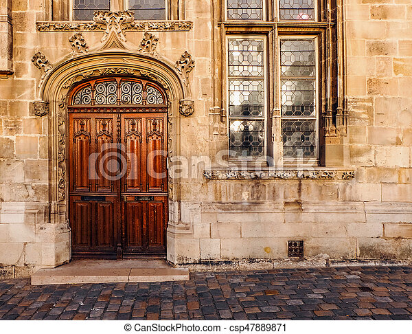 Ornate Wooden Double Door Of An Old Church A Beautifully Ornate
