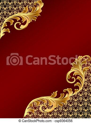 ornement, fond, gold(en), brun - csp9364056