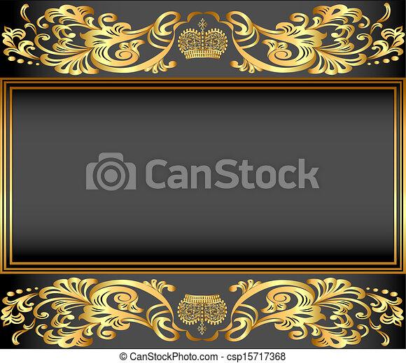 ornements, or, fond, cadre, vendange, couronne - csp15717368