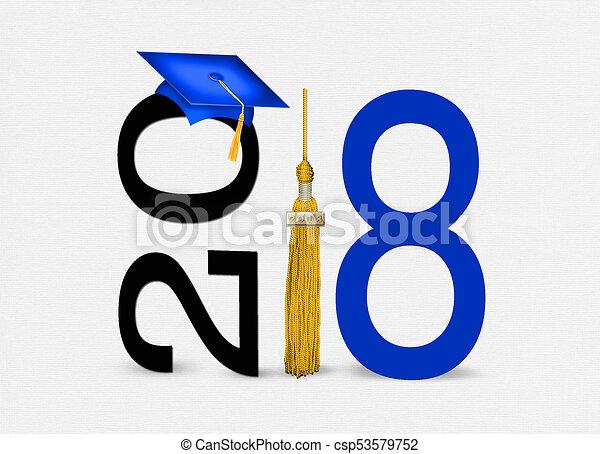 Gorro de graduación azul 2018 con borlas doradas - csp53579752