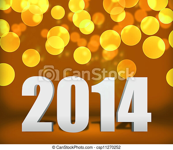 2014 oro en la etapa de fondo del año nuevo - csp11270252