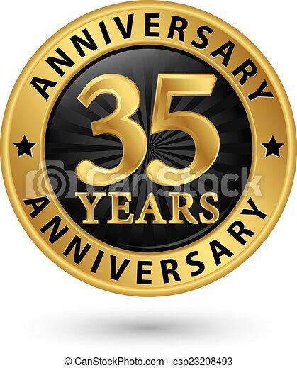 oro, anniversario, 35, anni, vettore, etichetta, illustrazione - csp23208493