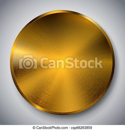 Metal realista plantilla de botón reflectante oro - csp66263859