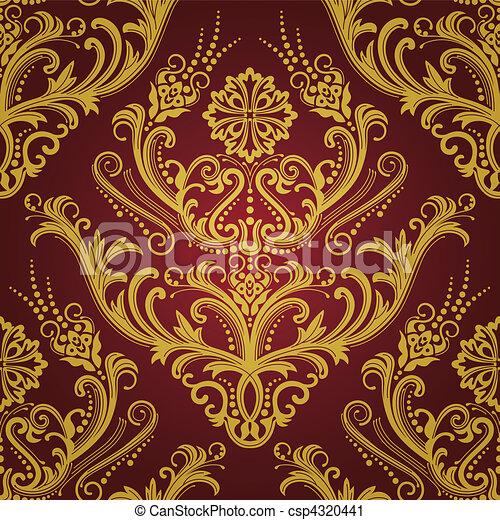 oro, &, carta da parati, lusso, floreale, rosso - csp4320441
