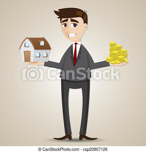 Empresario de dibujos animados con una casa y una moneda de oro - csp20807126
