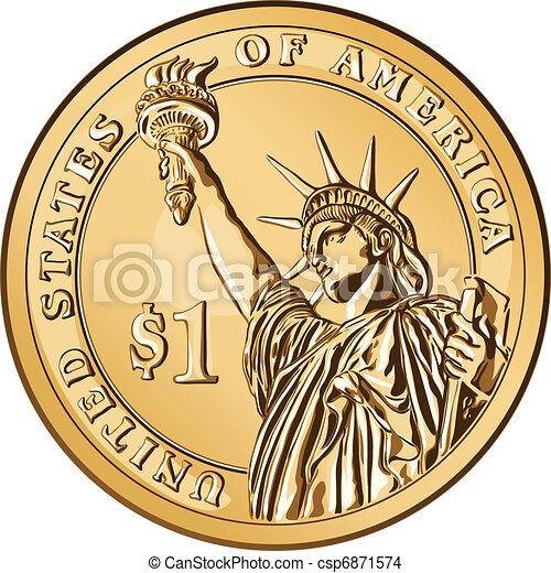Una moneda de oro del vector americano un dólar - csp6871574