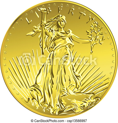 Vector americano dinero de oro libertad - csp13566997