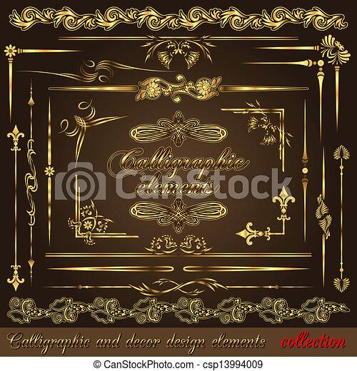 Elementos de diseño calígrafos dorados - csp13994009