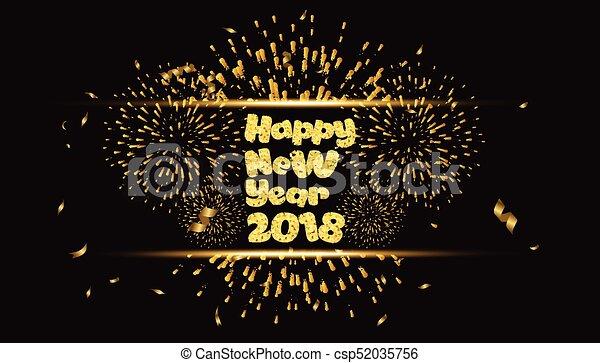 Feliz año nuevo 2018 oro con fuegos artificiales - csp52035756