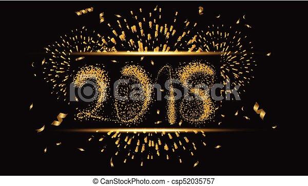 Feliz año nuevo 2018 oro con fuegos artificiales - csp52035757
