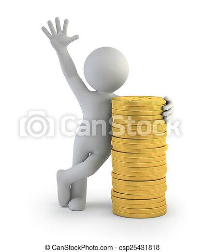 3D gente pequeña, monedas de oro - csp25431818
