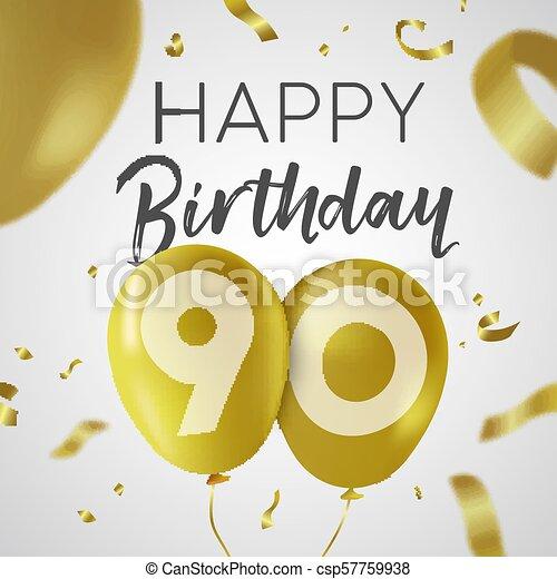 Feliz Cumpleaños 90 Noventa Años Tarjeta De Oro Feliz