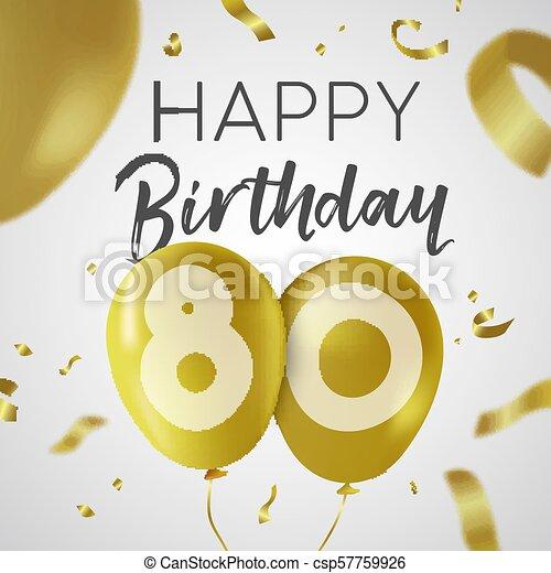 Feliz Cumpleaños 80 Años Tarjeta De Globo De Oro Feliz