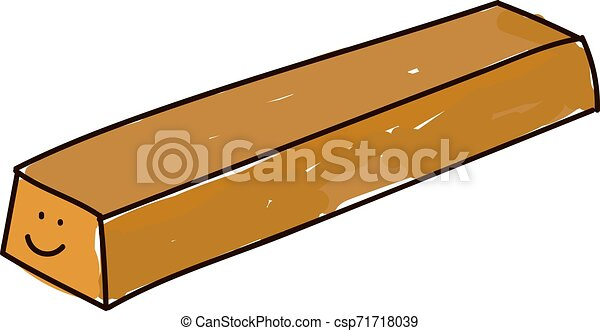 Barra dorada, ilustración, vector de fondo blanco. - csp71718039