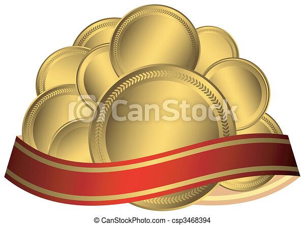 oro, medaglie, nastro - csp3468394
