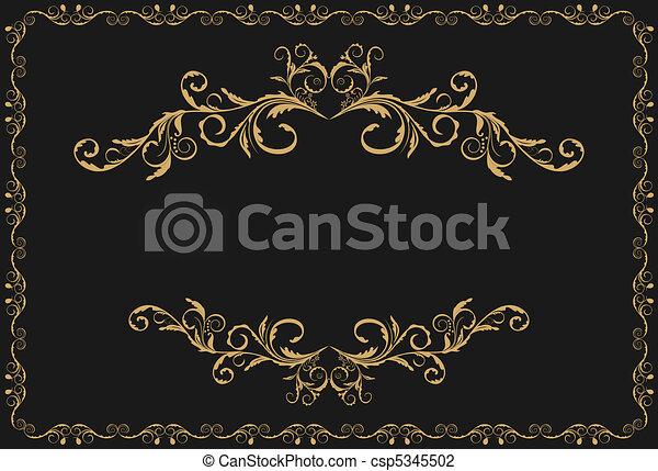 oro, modello, ornamento, illustrazione, lusso, profili di fodera - csp5345502