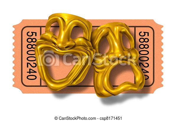 Boleto de cine con comedias de oro y máscaras de tragedia - csp8171451