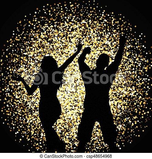 oro, persone, ballo, silhouette, fondo, brillare - csp48654968