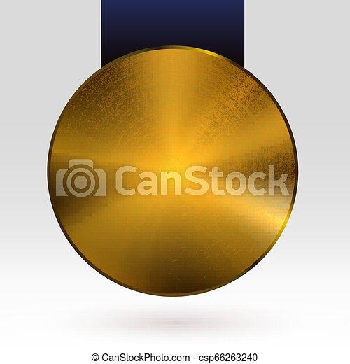 Medalla de medalla de oro con vector de cinta oscura - csp66263240