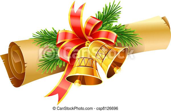Campanas de Navidad de oro con arco rojo y pergamino de papel - csp8126696