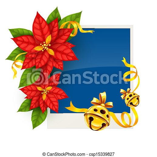 Tarjeta de Navidad con flores de poinsettia y campanas de tintineo de oro - csp15339827