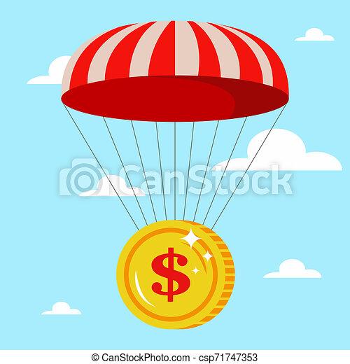 Paracaidismo con una moneda de oro en el cielo. Buena caída - csp71747353