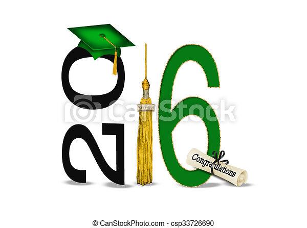 Verde y oro en la graduación de 2016 - csp33726690