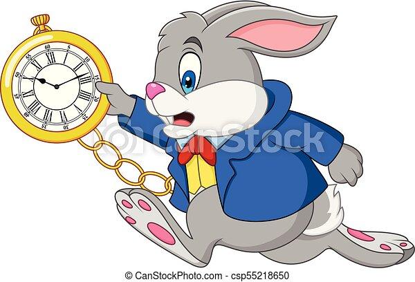 orologio, cartone animato, coniglio, presa a terra - csp55218650