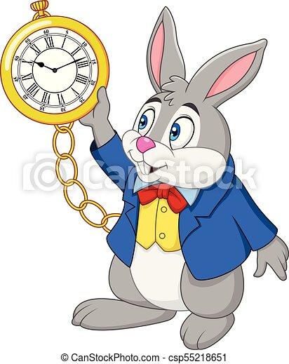 orologio, cartone animato, coniglio, presa a terra - csp55218651
