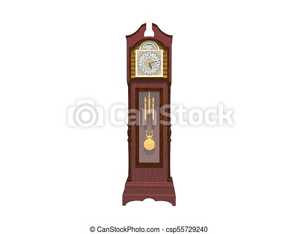 orologio, parete, -, isolato, interpretazione, bianco, 3d - csp55729240