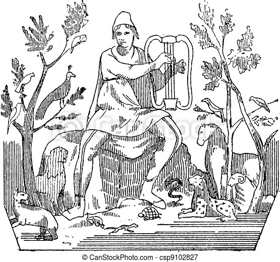 Orpheus attracting wild animals to the sound of his lyre, vintage engraving. - csp9102827
