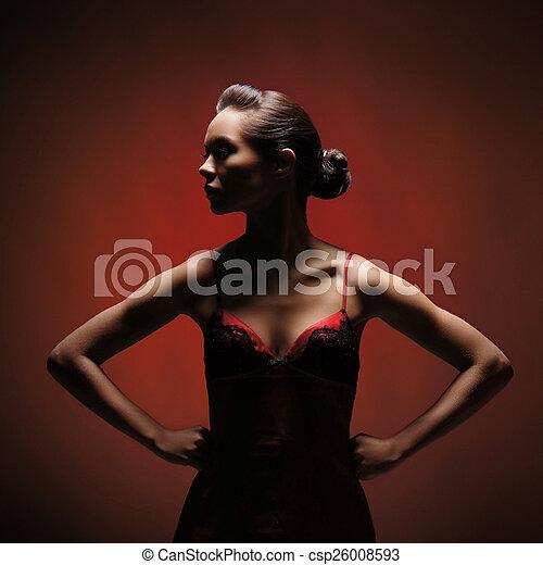 orrore, donna, sopra, fondo, rosso - csp26008593