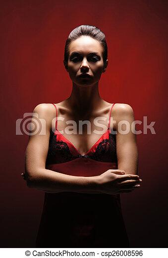 orrore, donna, sopra, fondo, rosso - csp26008596
