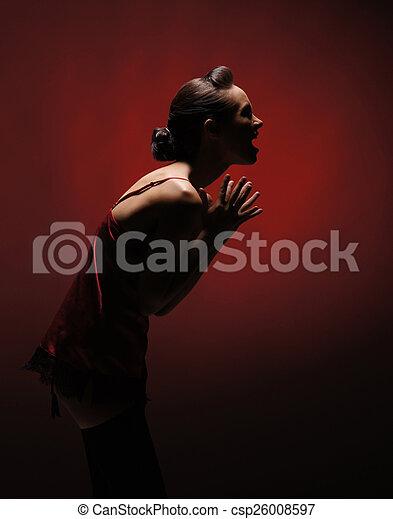orrore, donna, sopra, fondo, rosso - csp26008597