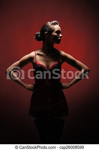 orrore, donna, sopra, fondo, rosso - csp26008599