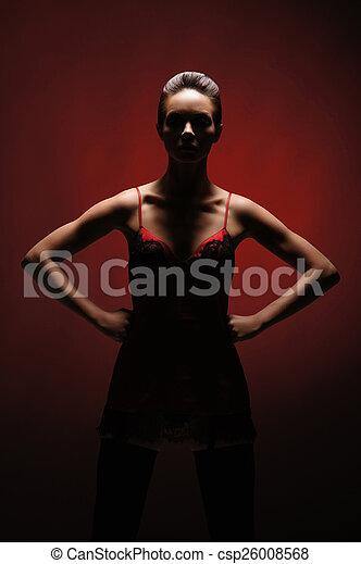 orrore, donna, sopra, fondo, rosso - csp26008568