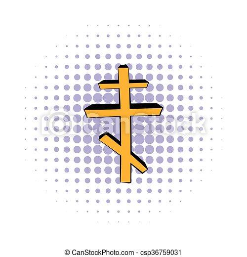 Orthodox cross icon, comics style - csp36759031