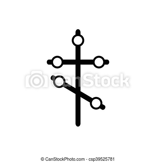 Orthodox cross icon in simple style - csp39525781